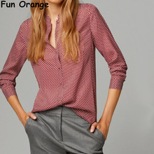 Fun Orange New Fashion Ladies elegant red leaves print blouses vintage stand collar long sleeve OL shirts casual slim brand tops