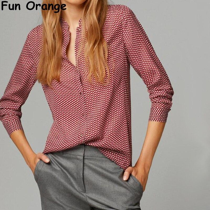 Весело оранжевый новые модные женские элегантные красные листья принт блузки старинные Стенд воротник Длинные рукава ПР Рубашки повседневные узкие брендовые Топы