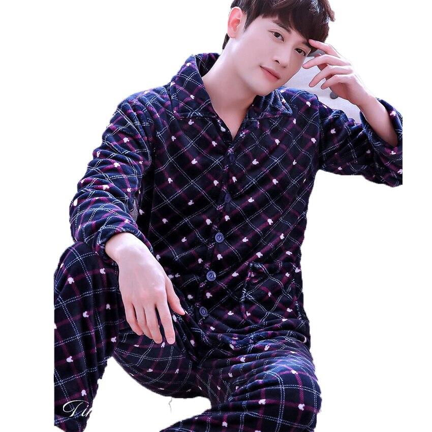 c354b65fb3 Pyjamas Men Autumn Winter Mens Flannel Pajama Sets Indoor Clothing Home  Suit Men Print Long Sleeve Trousers Sleepwear Set-in Men s Pajama Sets from  ...