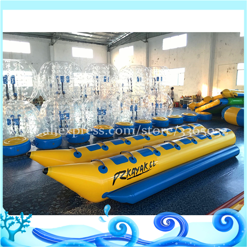 Double Tubes 14 seats banana boat shark shape inflable Inflatable water flying towable banana boat for water activity