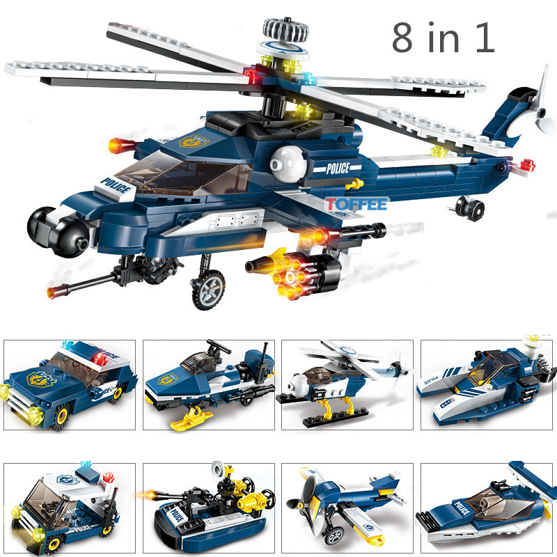 381pcs Attack Helicopter MILITARY World War 2 Soldier SWAT Air Plane Model Army CS Building Blocks Figures Toy Children Boy Gift 56in1 air attack the king of air pandora box raid 2 generation