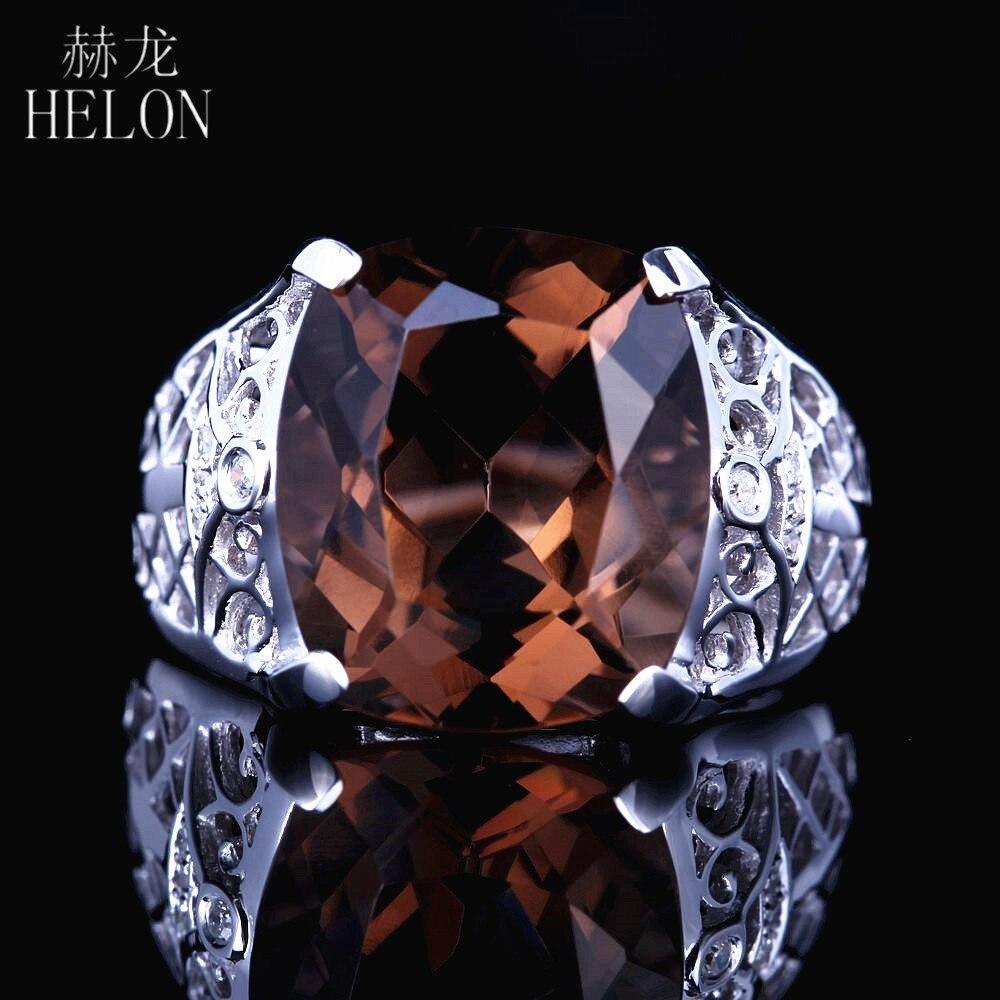 HELON solide 14 K or blanc bijoux coussin 14mm x 12mm 8.8ct véritable Smokey Quartz naturel diamants fiançailles mariage bague Fine