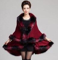 Fashion Novelty Assorted Color Faux Fox Fur Coat Shawl Cloak Women Wool Cashmere Long Double Overcoat Cape Poncho Winter New