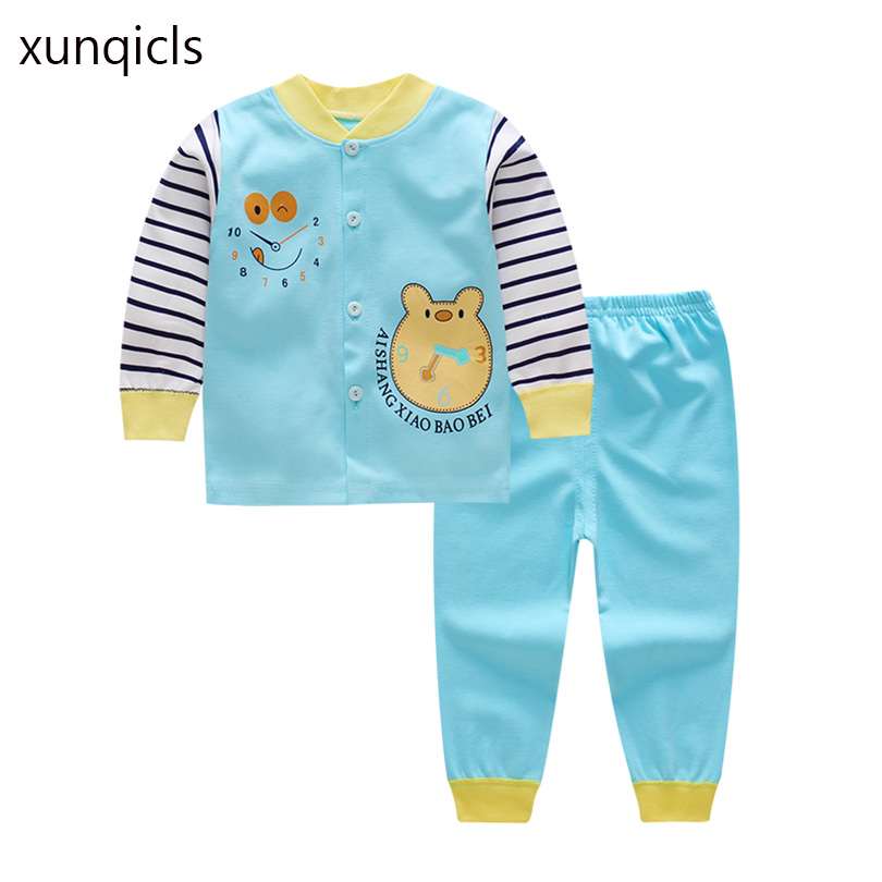 xunqicls New Autumn 2pcs Baby Pajama Set Cartoon Baby Boy Girl Top Pants Suit Children Sleepwear Nightwear  Pj's Clothes