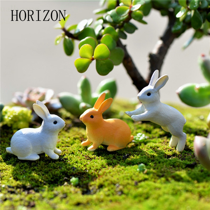 New 2pc/set Rabbit Ornament Miniature Figurine Fairy Garden Decor Home Decoration Micro  ...