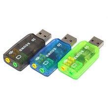 Adaptador de micrófono y tarjeta de sonido USB externa 3D, 5,1 canales, conector de 3,5mm, auriculares estéreo para Win XP 7, 8, Android, Linux, Mac OS