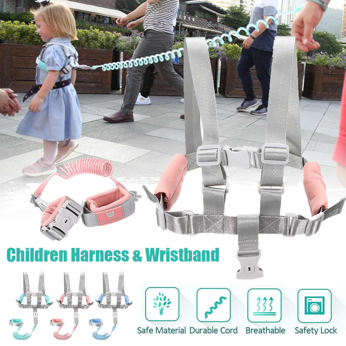 Child Harness Anti-lost Wrist Link Belt Breathable Kid Rope Safety Strap W/ Key Lock Baby Outdoor Play Wristband Walker Safety
