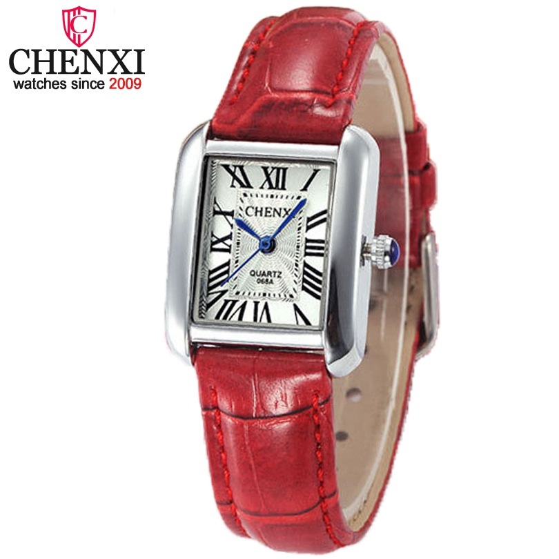 CHENXI women leather quartz watch Roman numerals small Rectangle wristwatch Fashion waterproof ladies watches Orologio da donna kingsky new fashion small women watches famous design quartz watch black pu leather strap wristwatch