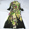 Novas das Mulheres de Outono Longo Sleepwear Robe de Veludo de Seda Jacquard Princesa Real Camisola Verde Frete Grátis