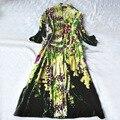 Nuevo Otoño Larga de Las Mujeres ropa de Dormir de Seda Túnica de Terciopelo Jacquard Verde Royal Princesa Camisón Envío Gratis