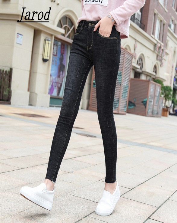 spring autumn denim jeans for women slim high elastic waist skinny pencil pants jeans trousers big size female washed casual plus size women jeans trousers denim pencil pants spring autumn big elastic mid waist empire leggings ladies ripped jeans 988