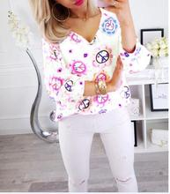 2019 Womens blouse Loose Thin Large V-neck Print Puff Sleeve Size Shirt S-5XL