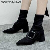 Шикарные Швейные верхние черные замшевые ботильоны для женщин острый носок толстый каблук стрейч ткань носок сапоги и ботинки для девоч