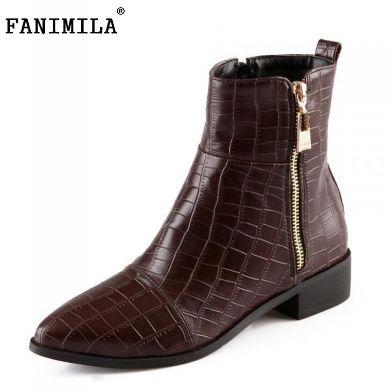 цены на FANIMILA Size 33-43 Women Half Short Boots Zipper High Heel Boots Warm Shoes Women Cold Winter Boots Sexy Botas Women Footwears в интернет-магазинах
