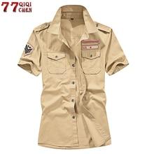 Brand New 100% Cotton Military Cargo Shirt Men Short Sleeve Plus Size
