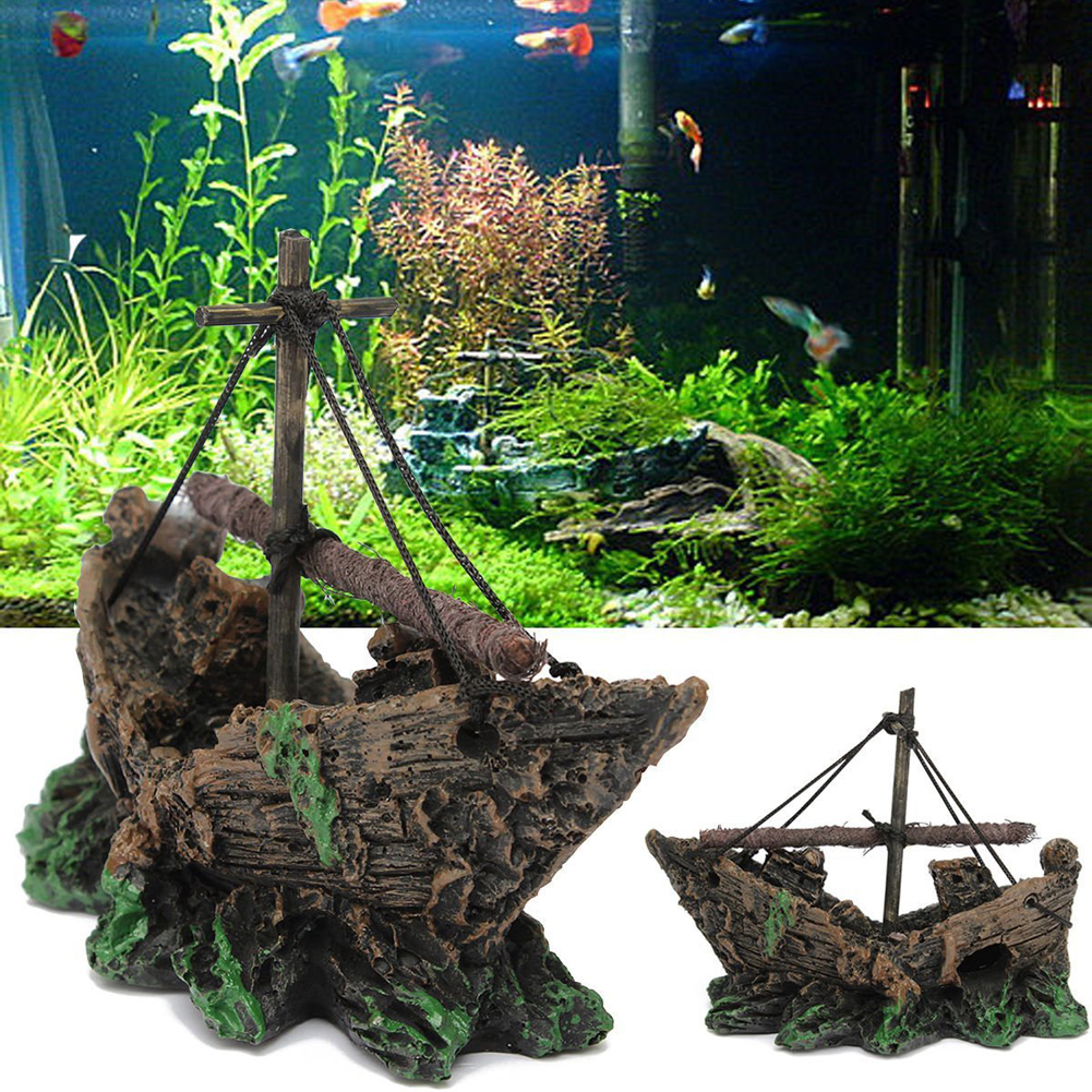 Resin Aquarium Ornament Sunk Ship Sailing Boat Destroyer ...