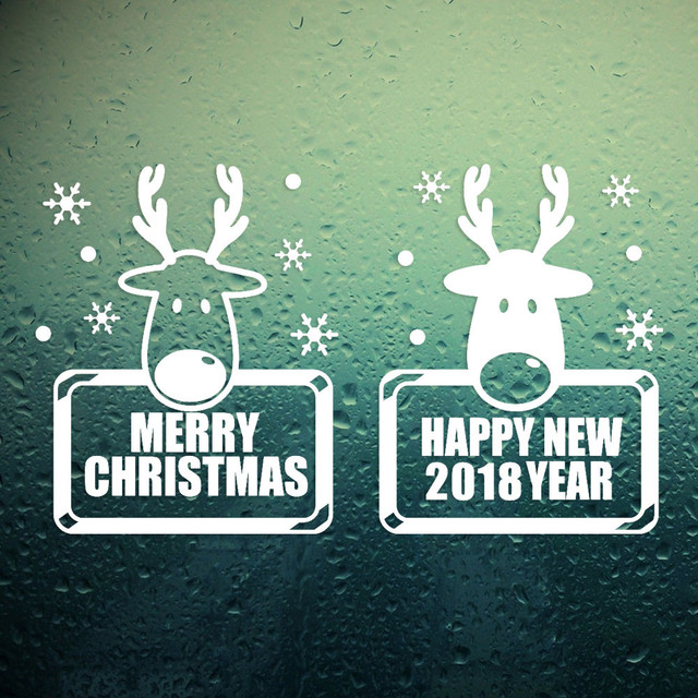 Reindeer snowflake wall sticker letters 2018 happy new year merry christmas plane window stickers home decor