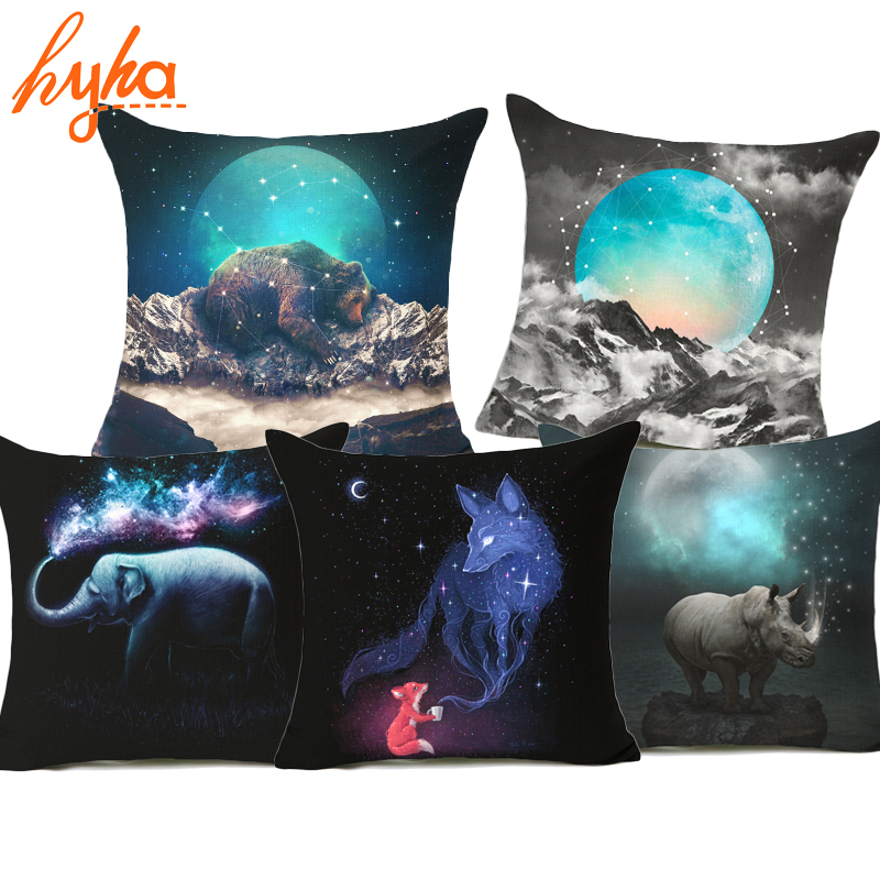 Hyha Galaxy Cushion Cover Fox Celestial Chase The Darkness Away Guardian Moon Pillow Cover Hidden in Your soul Wolf Galaxy