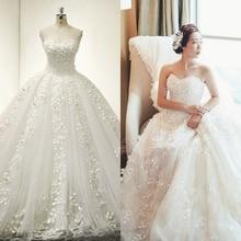 vestido de novia 2016 New Bride Princess Appliques Lace Beading Luxury Long Royal Train Plus Size Wedding Dresses Custom