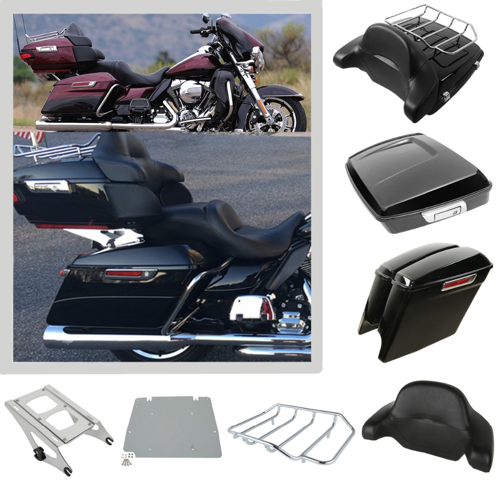 Motorcycle Tour Pak Pack Trunk Luggage Rack SaddleBags For Harley Touring Models Road King Electra Street Glide FLHR FLHX 14-Up