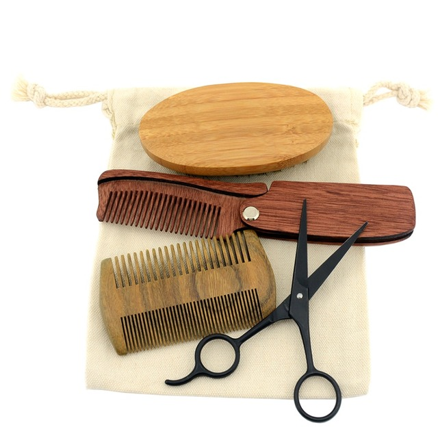 ZY Men Shaving Bristle Bamboo Brush Kit Mustache Beard Scissor Shear Natural Sandal Wood Folding Comb + Free Canvas Bag  1