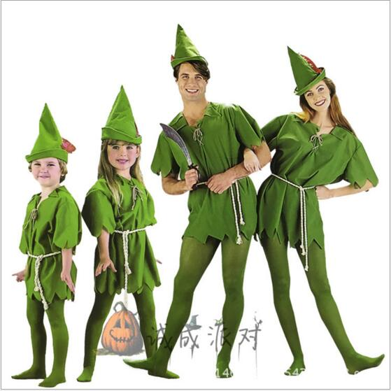 New 2017 Peter Pan Cosplay Costumes Adult Halloween Carvinal Cosplay Costumes For Kids Children Men Women Cosplay Costumes