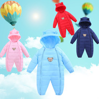 Winter Baby boys girls warm thicker cartoon bear hooded romper infant cotton overalls newborn clothes jumpers jacket 17J701