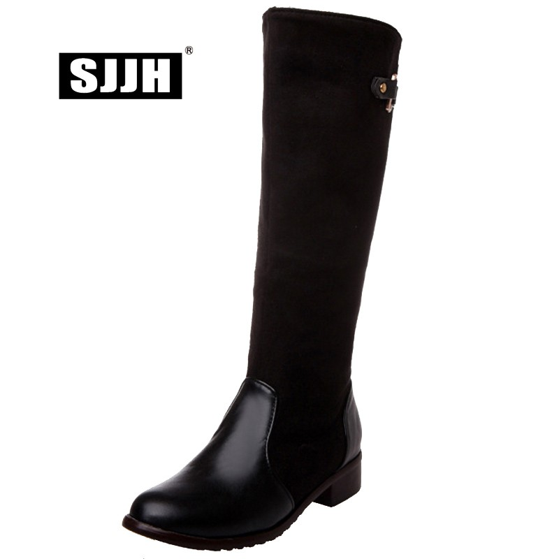 SJJH Riding-Boots Formal-Shoes Patchwork Fashion Women Zip Knee-High with Round-Toe Square