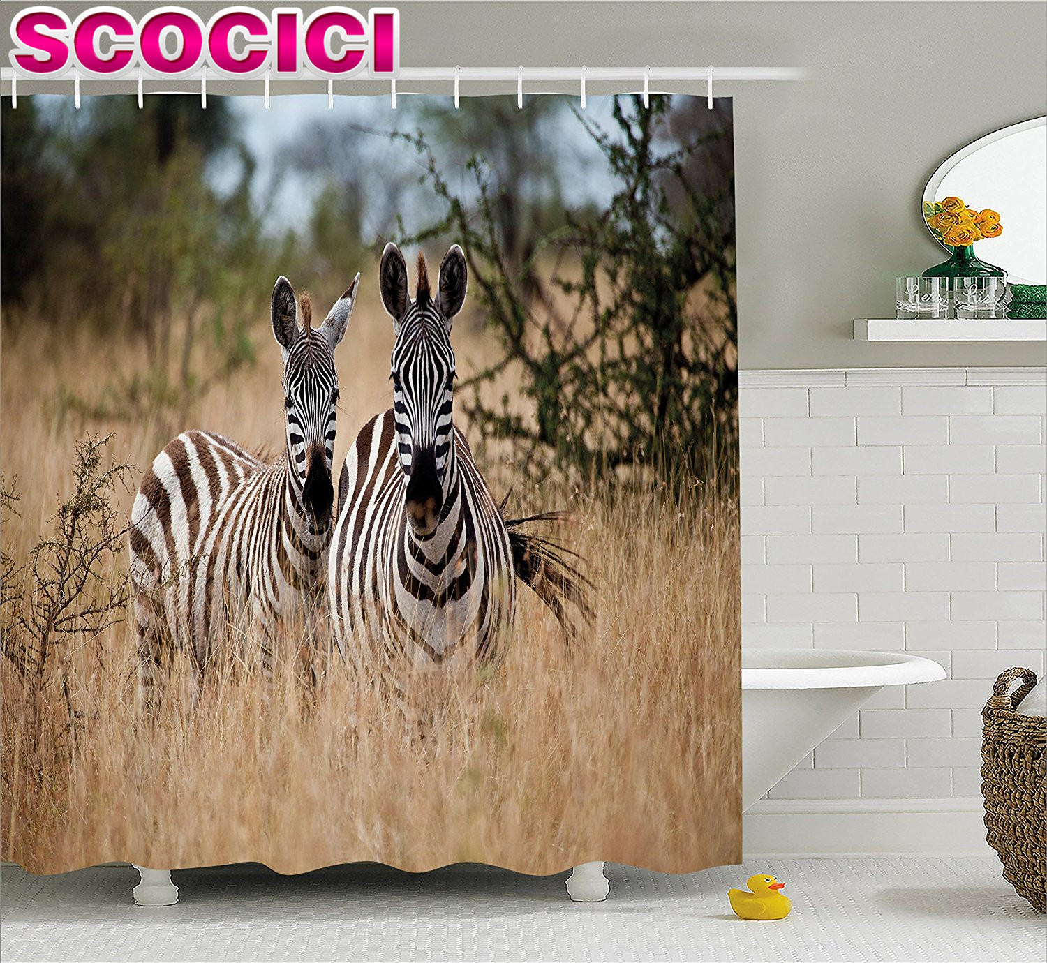 Wildlife Decor Shower Curtain Kenya With Zebras In The High Bushes Looking At The Camera Striped Unique Animal Fabric Bathroom D