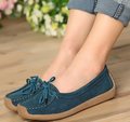 Fashion women genuine leather shoes lace-up women flats driving loafers all-match  single walking shoes size35-41