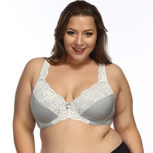 Image 2 - Women Underwire Plus Size Bras Full Coverage Non Padded Lace Brassiere Minimizer Underwear 32 52 DDD F FF G H Color Gray BH