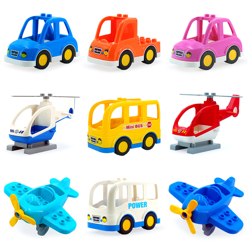 Cartoon Car mini bus plane helicopter Big Particles Vehicle Building Blocks accessory DIY Toys Compatible with Duplo Bricks Set umeile brand farm life series large particles diy brick building big blocks kids education toy diy block compatible with duplo