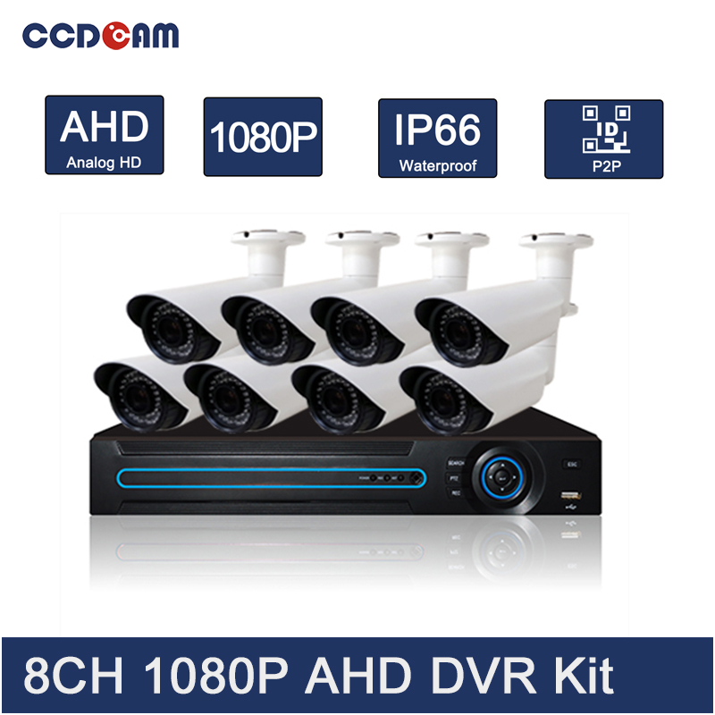 CCDCAM 8CH 1080P AHD DVR Kit Security CCTV System Full HD 2MP AHD Camera with 1080P AHD DVR
