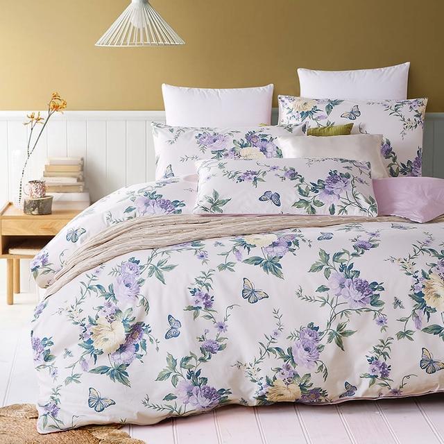 Топ-класса luxury 1200TC из египетского хлопка атласные модные с цветочным принтом отель постельных принадлежностей пододеяльник постельное белье простыня установить