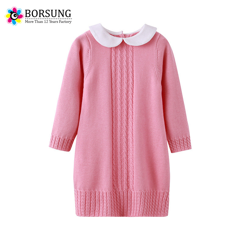 BORSUNG 100%Cotton Baby Girls Sweater Dress Long Sleeve 2017 Winter Kids Girl Pullover Knitted Casual Dresses For Girls Clothes autumn winter kids girls knitted dress with bows long sleeve kids princess dresses for girls cotton sweater dress