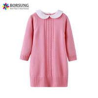 BORSUNG 100 Cotton Baby Girls Sweater Dress Long Sleeve 2017 Winter Kids Girl Pullover Knitted Casual