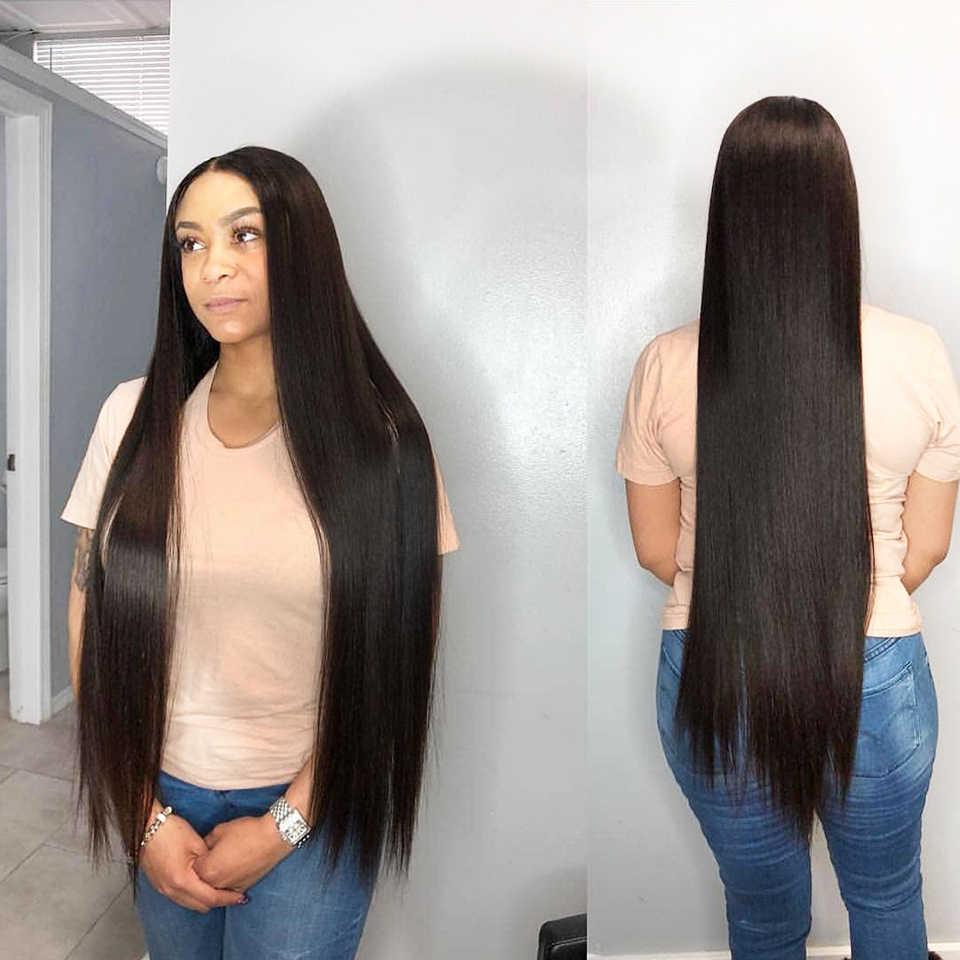 100% человеческие бразильские волосы переплетения пряди 30 32 34 36 38 дюймов 40 дюймов Пряди длинные девственные волосы утка 1/3/4 шт. натуральный Цвет luasy