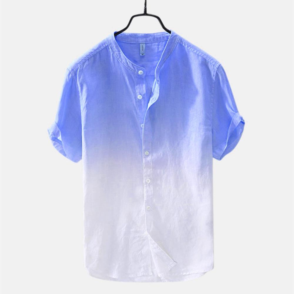 Summer Casual Shirt Tops Short Sleeve Men's Cool And Thin Breathable Collar Hanging Dyed Gradient Cotton Shirt Beach Blouse