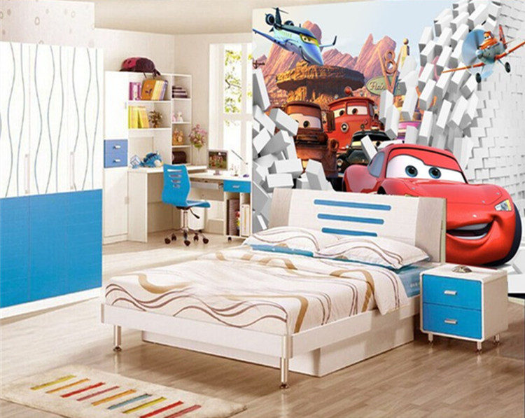 3d stereoscopic cars wallpaper kindergarten children 39 s for Cars wallpaper mural