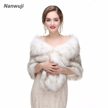 Bridal Shawl Fur Stole Faux Fur Wrap Evening Dress Bolero Wedding Cape Wedding Shawl Fur Cape 2018 Winter Bridal Cloak Bolero blue flower girl faux fur cape child kid winter jacket hooded wrap bolero with hand muff evening prom coat outwear cloaks
