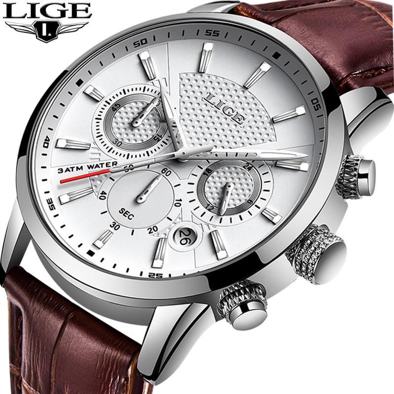 LIGE Mens Watches Gift Top Luxury Brand Waterproof Sport Watch Chronograph Quartz Military Genuine Leather Relogio Masculino