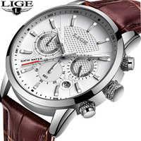 Lige relógios dos homens presente topo marca de luxo à prova dwaterproof água esporte relógio cronógrafo quartzo militar couro genuíno relogio masculino