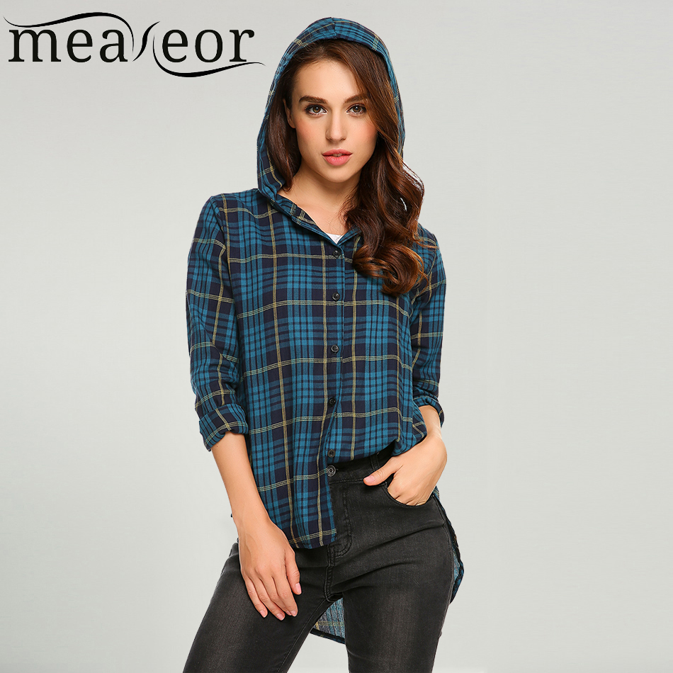 Meaneor women casual hooded long sleeve blouse shirt plaid for Plaid button down shirts for women