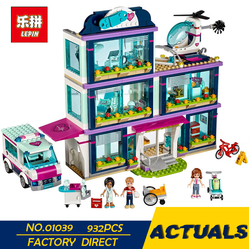 LEPIN 01039 Friends Girl Series 932pcs Building Blocks toys Heartlake Hospital kids Bricks toy girl gifts Compatible with 41318 toy 10166 friends series heartlake city school model building kit blocks bricks girl toy gift compatible with toys