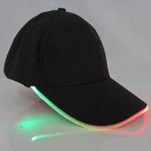 Coromose LED Light Flash Baseball Cap Fashion LED Lighted Glow Club Party Black Fabric Travel Hat Baseball Cap FGM04