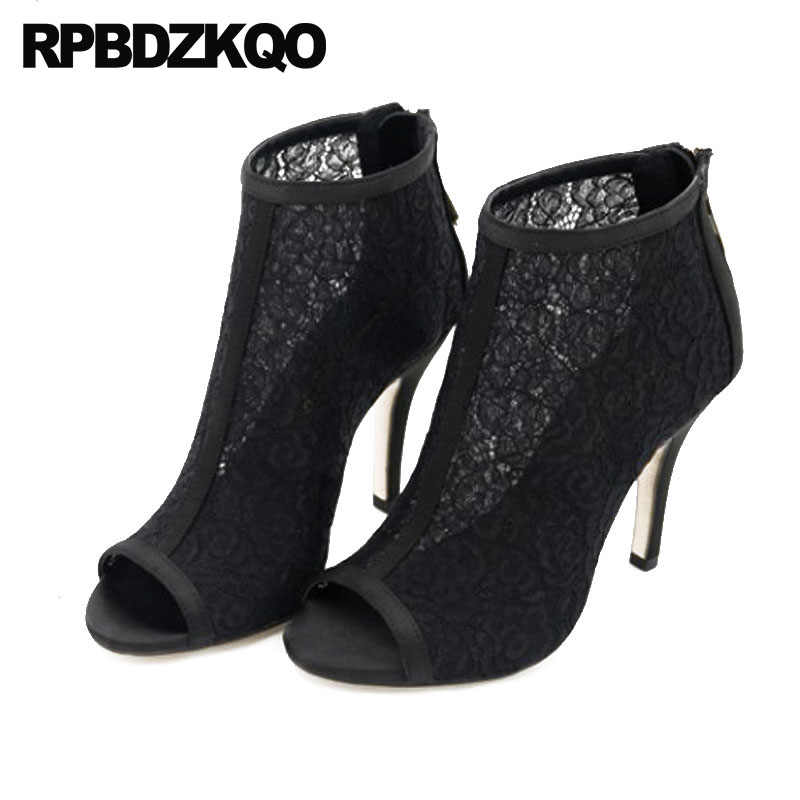 a4194989c5520 ... White Wedding Boots Ankle Mesh Summer Booties Bridal Sandals Peep Toe  Stiletto Lace High Heel Extreme ...