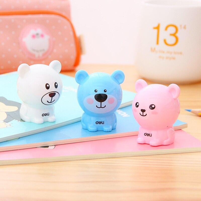 3 Pcs Cartoon Bear Pencil Sharpener For Kids 3 Colors Standard Pencil Cutting Machine Deli 0573 NEW