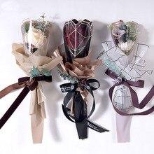 20 шт./лот целлофановая оберточная бумага с цветком розы один пластиковый Opp пакет цветочная упаковка букета материал свадебные принадлежности