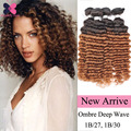 8A Malaysian Deep Wave Hair 4 Bundles Ombre Malaysian Wet And Wavy Human Hair Mocha Hair Products Deep Curly Weave Human Hair