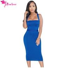 75498567d Caro Amante Mulheres Sexy Verão Bodycon Clube Vestido Azul Royal Strapless Lace  Up Fita Tie Voltar Midi Vestido de Festa Vestido.